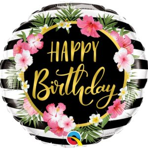 L0017. Balon foliowy z helem na urodziny 18″ cali (43 cm) – Happy Birthday kwiaty hibiskusa
