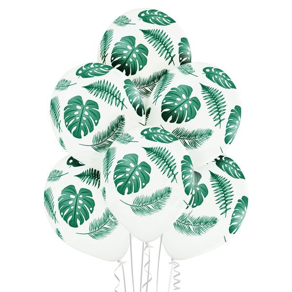 Balony dekoracyjne z helem i z liśćmi monstery i paproci