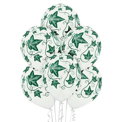 Białe balony z helem w liście bluszczu - Warszawa