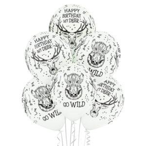 B039. Zestaw białych balonów urodzinowych – dzikie zwierzęta leśne – 6 sztuk
