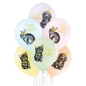 B007. Zestaw balonów na urodziny 6 sztuk zwierzątka Happy BirthDay