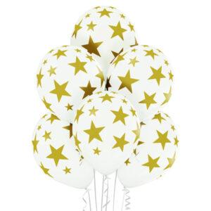E004. Zestaw balonów dekoracyjnych / białe w złote gwiazdki – 6 sztuk