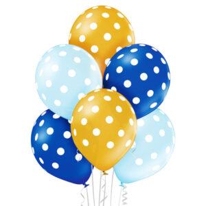 Balony w kolorach niebieskim i złotym w białe grochy z helem