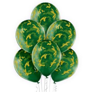 E007. Zestaw balonów dekoracyjnych / zielone moro – 6 sztuk