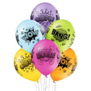 E010. Zestaw balonów dekoracyjnych / komiks – 6 sztuk
