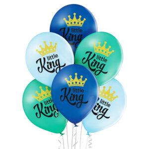 C012. Zestaw balonów na Baby Shower / narodziny chłopczyka- Little King – 6 sztuk