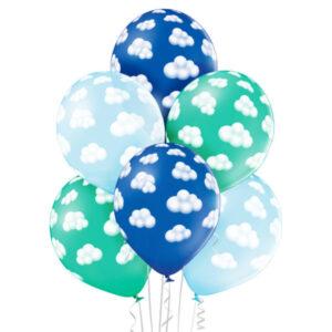 C014. Zestaw balonów na Baby Shower / narodziny Chłopczyka- w chmurki – 6 sztuk