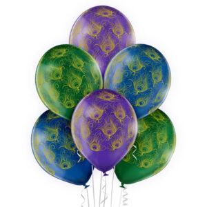 E006. Zestaw balonów dekoracyjnych / pawie pióra– 6 sztuk