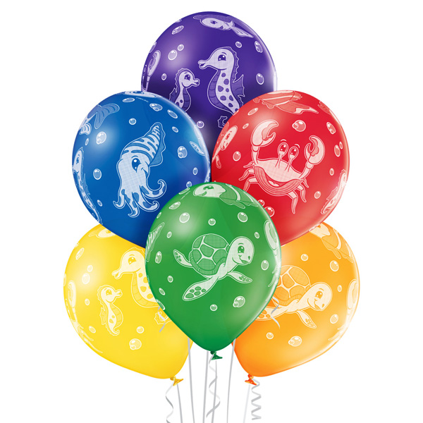Balony z helem dla dzieci - zwierzęta morskie