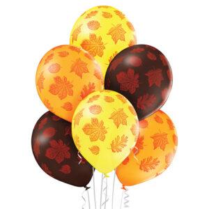 E015. Zestaw balonów dekoracyjnych / jesienne liście klonu – 6 sztuk