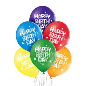 B005. Zestaw balonów na urodziny 6 sztuk Kolorowe HBD mniejsze