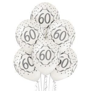 B038. Zestaw białych balonów na 60 urodziny – 6 sztuk