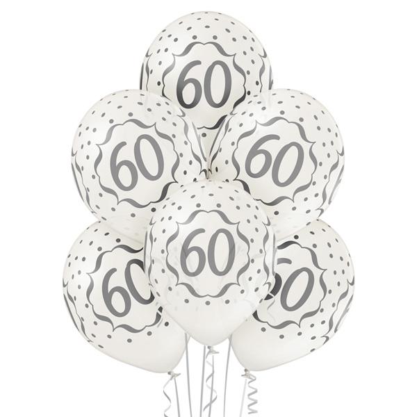 Balony białe na 60 urodziny z helem