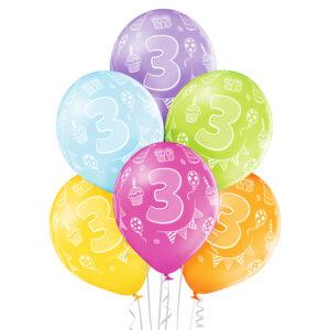 B013. Zestaw kolorowych balonów na 3 urodziny – 6 sztuk