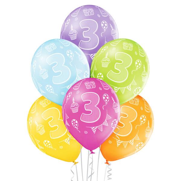 Kolorowe balony lateksowe z helem na 3 urodziny dziecka