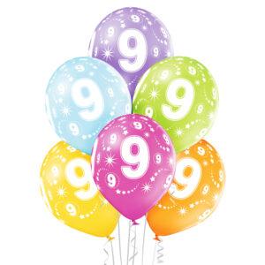 B019. Zestaw kolorowych balonów na 2 urodziny – 6 sztuk