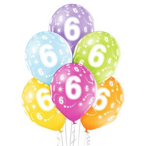 B016. Zestaw kolorowych balonów na 6 urodziny – 6 sztuk