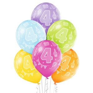 B014. Zestaw kolorowych balonów na 4 urodziny – 6 sztuk
