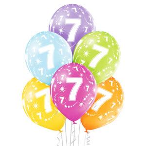 B017. Zestaw kolorowych balonów na 7 urodziny – 6 sztuk