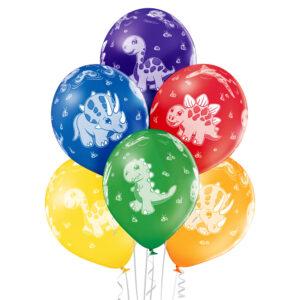 D008. Zestaw balonów ze zwierzątkami / dinozaury – 6 sztuk