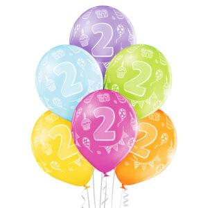B012. Zestaw kolorowych balonów na 2 urodziny – 6 sztuk