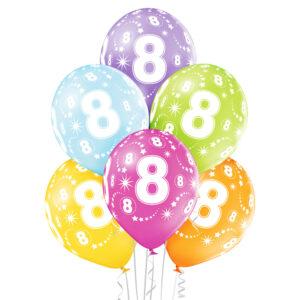 B018. Zestaw kolorowych balonów na 8 urodziny – 6 sztuk