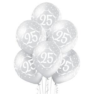 B037. Zestaw srebrnych balonów na 25 urodziny – 6 sztuk