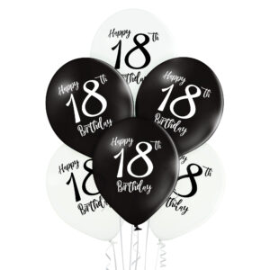 B031. Zestaw czarno białych balonów na 18 urodziny – 6 sztuk