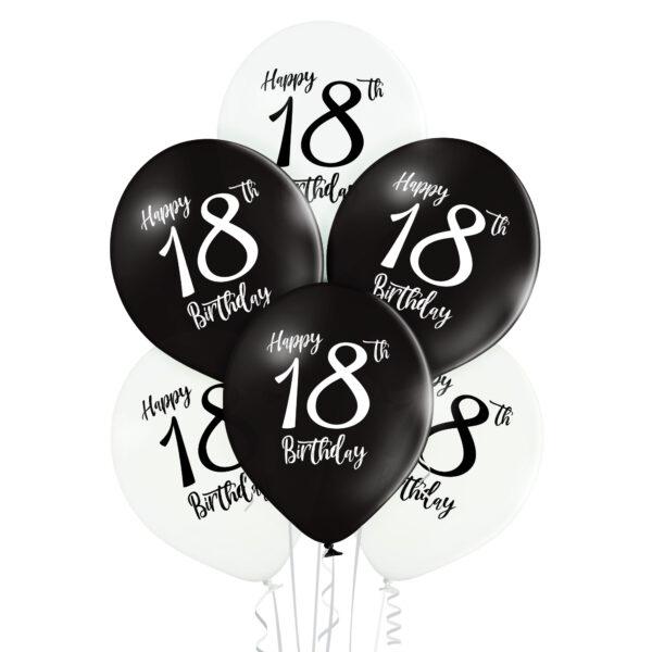 Eleganckie czarno białe balony z helem na 18 urodziny