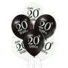 Balony na 20 urodziny biało czarne