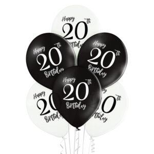 B032. Zestaw czarno białych balonów na 20 urodziny – 6 sztuk