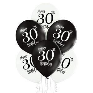 B033. Zestaw czarno białych balonów na 30 urodziny – 6 sztuk