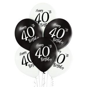 B034. Zestaw czarno białych balonów na 40 urodziny – 6 sztuk