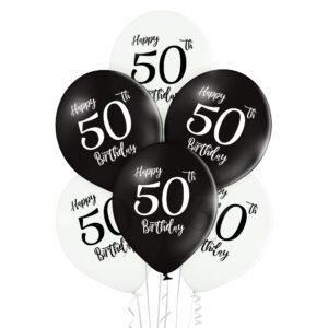 B035. Zestaw czarno białych balonów na 50 urodziny – 6 sztuk