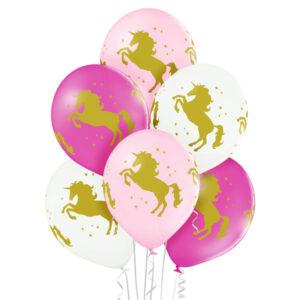 D013. Zestaw balonów ze zwierzątkami / złota postać jednorożca – 6 sztuk