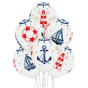 Białe balony z helem w statki i motywy marynistyczne