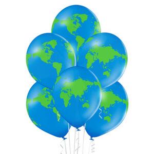 E008. Zestaw balonów dekoracyjnych / kula ziemska – globus – 6 sztuk