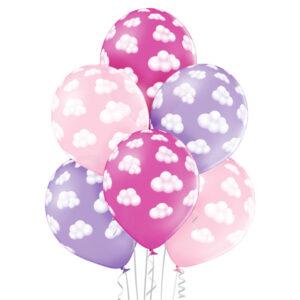 Różowe i jasno fioletowe balony z helem w chmurki