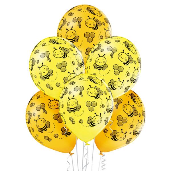 Balony żółte z przczółkami i plastrami miodu