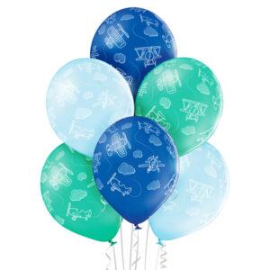 C015. Zestaw balonów na Baby Shower / narodziny chłopca – samoloty – 6 sztuk