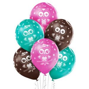 D003. Zestaw balonów ze zwierzątkami / sowy – 6 sztuk