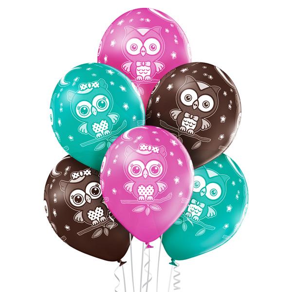 Piękne balony sowy z helem - Balony dla dzieci Warszawa