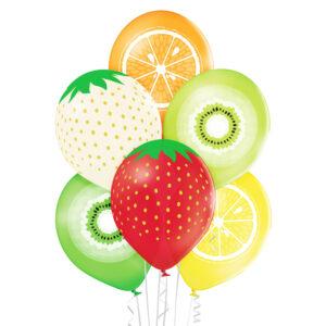 E009. Zestaw balonów dekoracyjnych / owoce – 6 sztuk