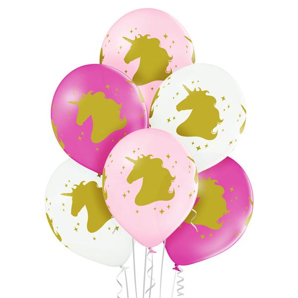 Balony z helem dla dziewczynki - głowa jednorożca