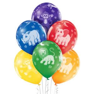 D005. Zestaw balonów ze zwierzątkami / safari – 6 sztuk