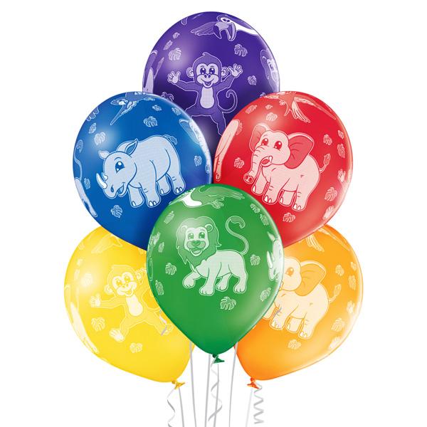 Kolorowe balony z helem ze zwierzątkami