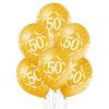 Złote balony z helem liczba 50