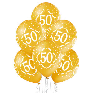 B036. Zestaw złotych balonów na 50 urodziny – 6 sztuk