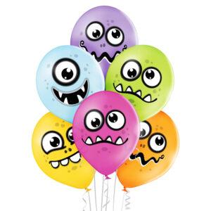 E012. Zestaw balonów dekoracyjnych / wesołe potwory – 6 sztuk
