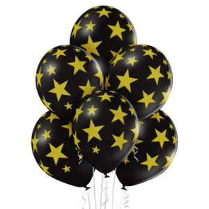 E005. Zestaw balonów dekoracyjnych / czarne w złote gwiazdki – 6 sztuk